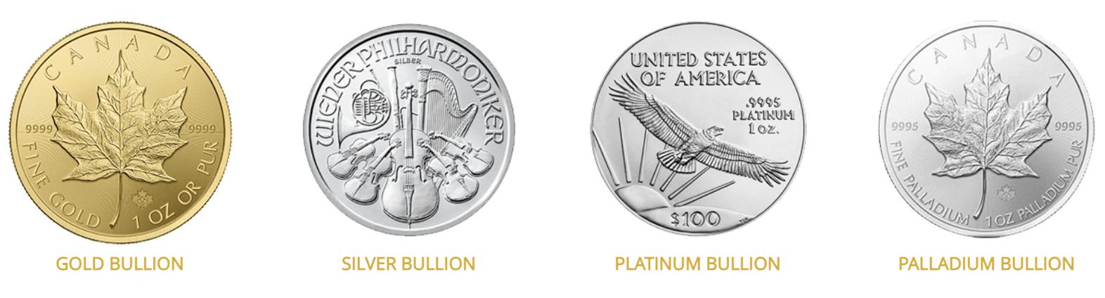 IRA eligible gold silver platinum palladium